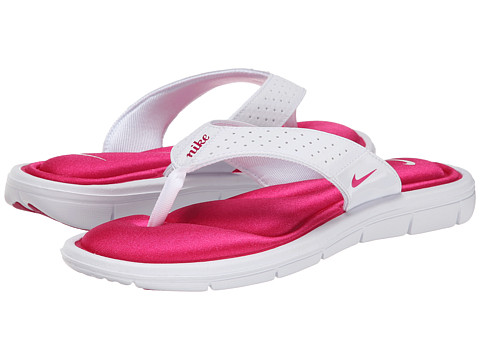 Nike - Comfort Thong (White/Fireberry) Women