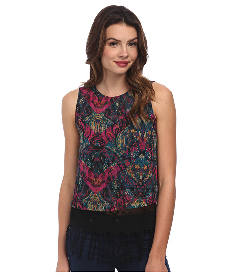 BCBGeneration - Lace Hem Tank Top DQG1T235 (Viridian Multi) Women