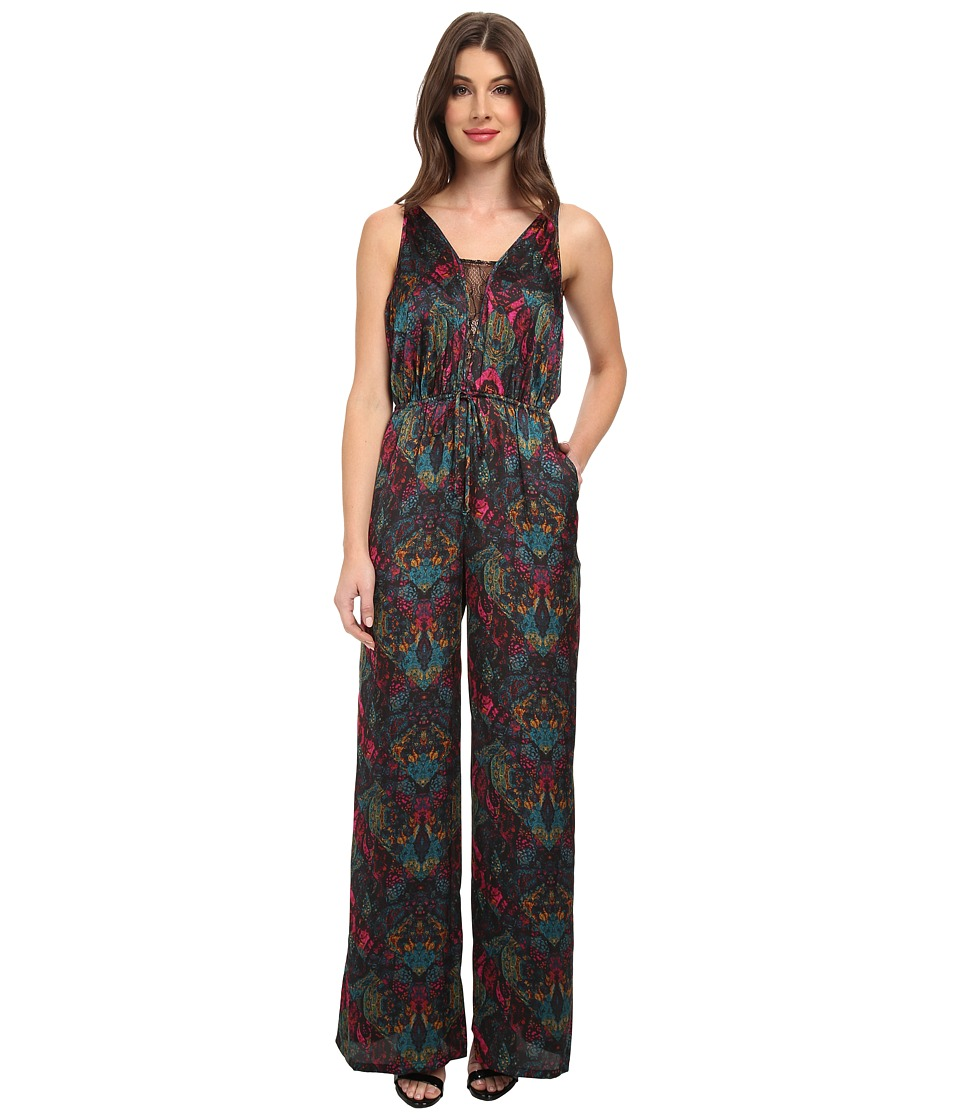 BCBGeneration - Lace Inset Jumpsuit DQR9C642 (Viridian Combo) Women's Jumpsuit & Rompers One Piece