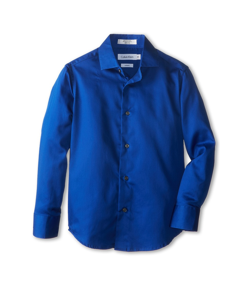 Calvin Klein Kids - L/S Sateen Hanging Shirt (Big Kids) (Dark Blue) Boy's Long Sleeve Button Up