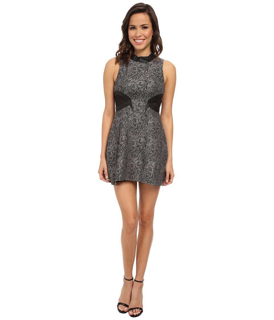BCBGeneration Mock Neck Dress w/ Contrast Back DRD65C86 (Silver Combo) Women