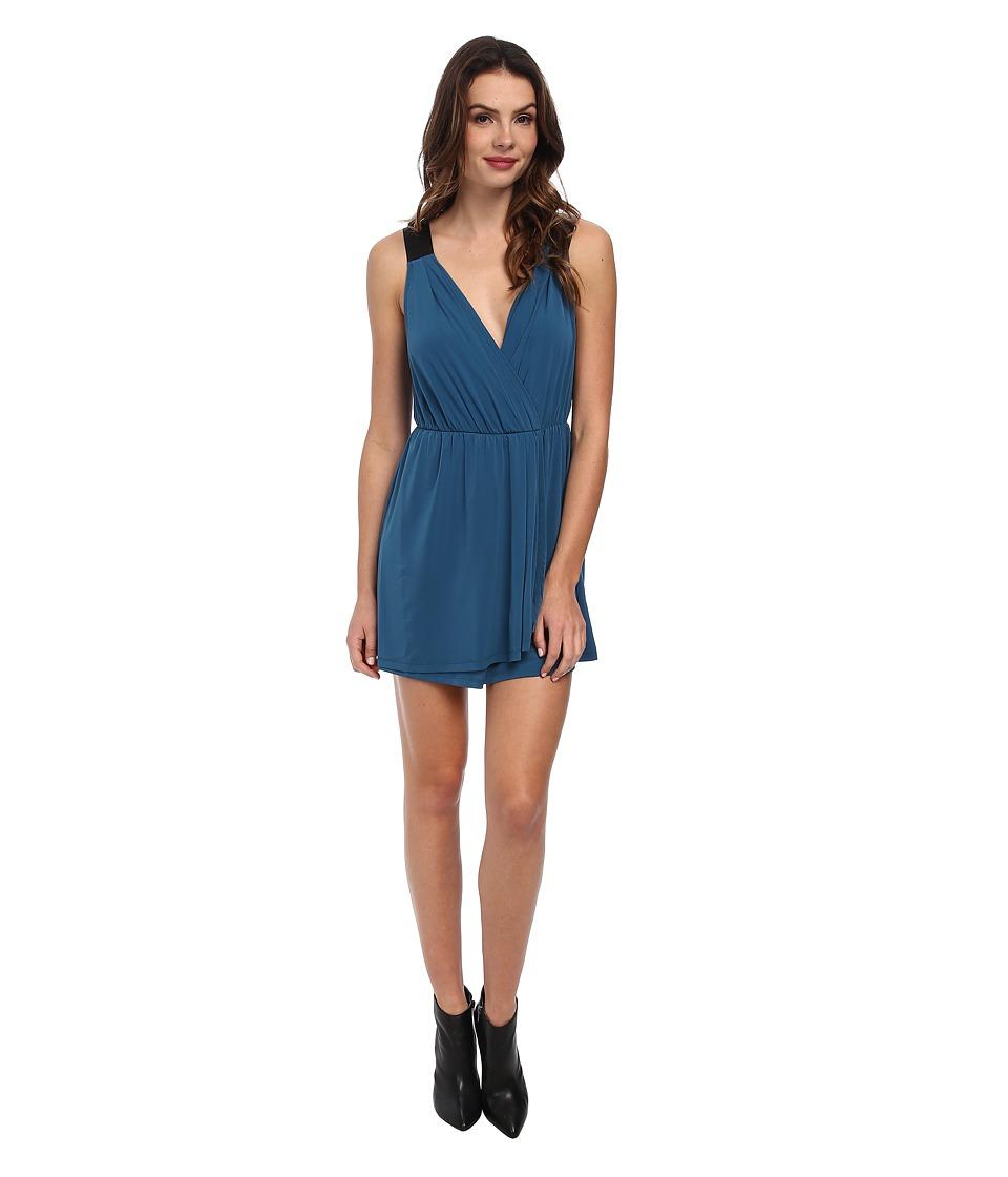 BCBGeneration Faux Wrap Dress w/ Contrast Straps YDM64C47 (Blue Lagoon) Women