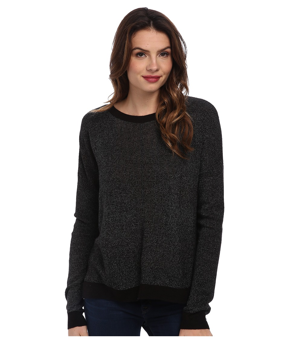 BCBGeneration - Metallic Plaited Crew Neck DZQ1T309 (Metallic Black) Women's Sweatshirt