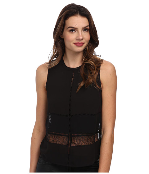 BCBGeneration - Mock Neck Lace Top w/ Trim QSD1T261 (Black) Women's Sleeveless