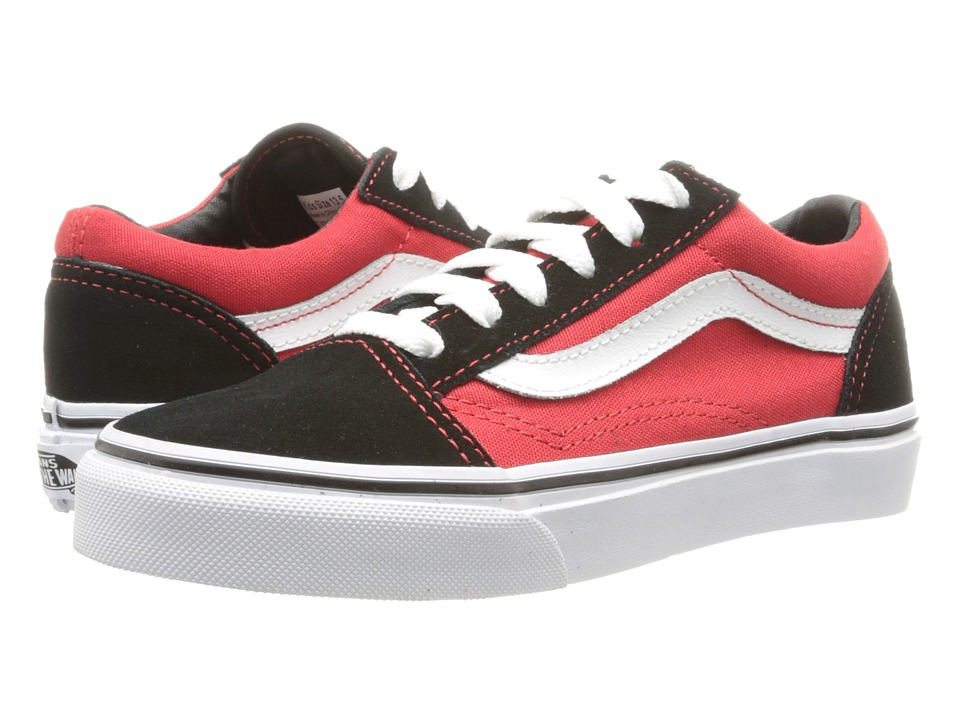 Vans Kids - Old Skool (Little Kid/Big Kid) ((Pop) Black/High Risk Red) Boys Shoes