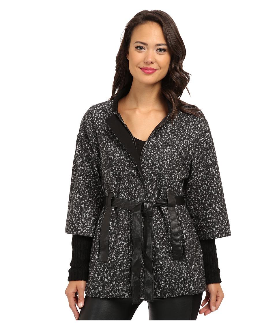 Nanette Lepore - Marble Wool Poncho (Charcoal Multi) Women's Coat
