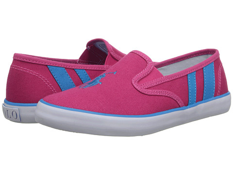 Polo Ralph Lauren Kids - Serena II (Little Kid) (Ultra Pink Canvas/Caribbean Blue Stripes) Girl's Shoes
