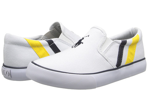 Polo Ralph Lauren Kids - Seth Slip On II (Little Kid) (White Canvas/Yellow & Navy Stripes) Boy's Shoes