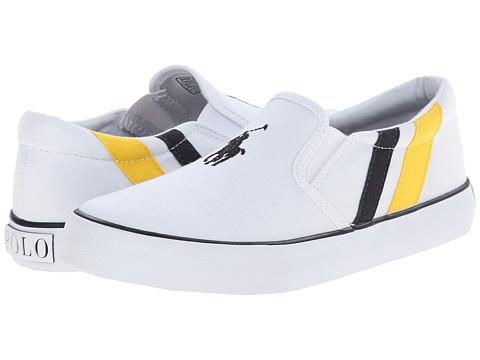 Polo Ralph Lauren Kids - Seth Slip On II (Big Kid) (White Canvas/Yellow & Navy Stripes) Boy