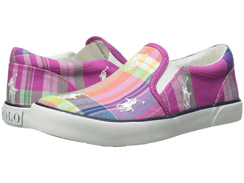 Polo Ralph Lauren Kids - Bal Harbour Repeat (Little Kid) (Pink Multi Plaid Canvas) Girl's Shoes