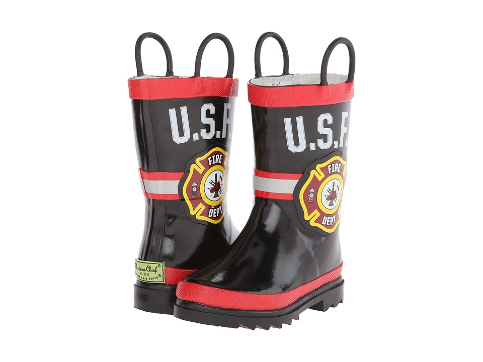 Western Chief Kids - U.S.F.D. Fire Dept 2 (Toddler/Little Kid) (Black) Girls Shoes