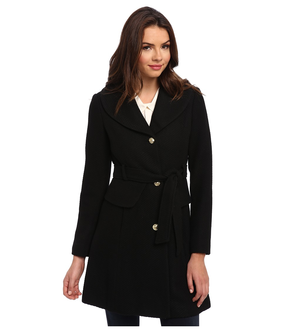 Jessica Simpson - Belted Wool with Peplum Detail (Black) Women's Coat