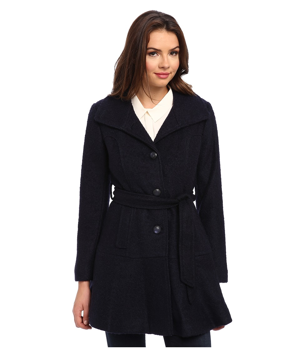 Jessica Simpson - Single Breasted Boucle Coat with Belt (Navy) Women's Coat