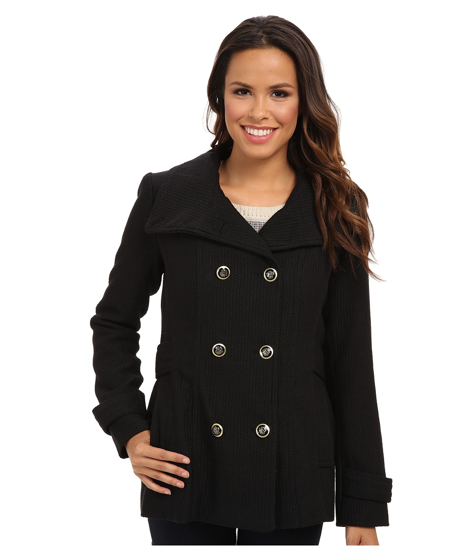Jessica Simpson - Double Breasted Chail Wool Coat with Military Buttons (Black) Women's Coat