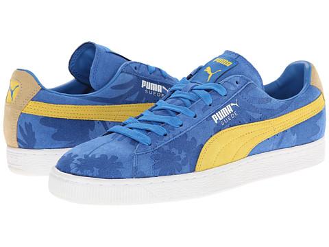 yellow and blue pumas