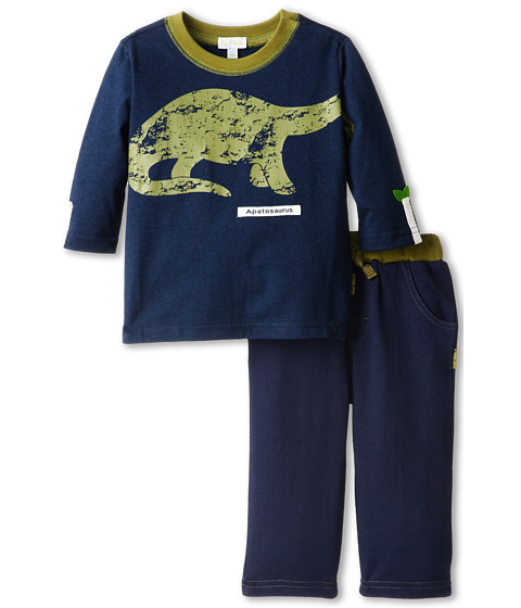 le top - Dino-Mite Shirt Apatosaurus Fleece Pant with Green Waistband (Infant/Toddler) (Navy) Boy's Active Sets