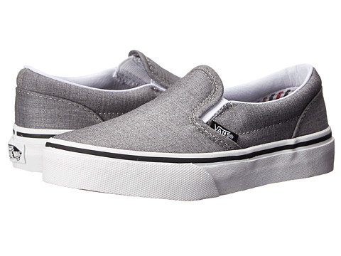Vans Kids - Classic Slip-On (Little Kid/Big Kid) ((Suiting/Stripes) Charcoal/True White) Kids Shoes