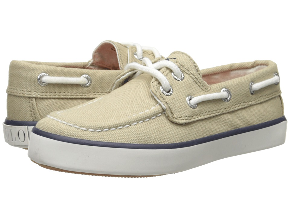 Polo Ralph Lauren Kids - Sander (Little Kid) (Khaki Canvas With Navy Pony Player) Boy's Shoes