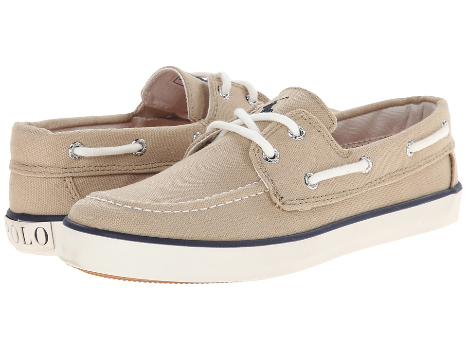 Polo Ralph Lauren Kids - Sander (Big Kid) (Khaki Canvas With Navy Pony Player) Boy's Shoes