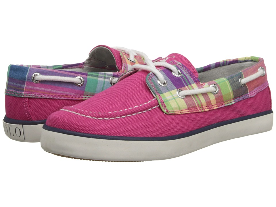 Polo Ralph Lauren Kids - Sander (Little Kid) (Ultra Pink Canvas/Pink Multi Plaid With White Pony Player) Girls Shoes