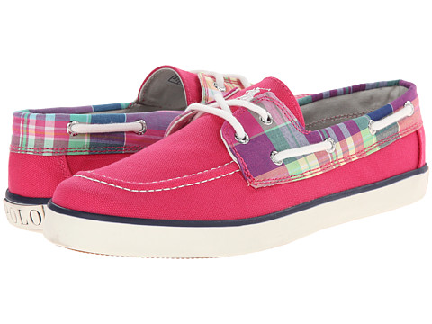 Polo Ralph Lauren Kids - Sander (Big Kid) (Ultra Pink Canvas/Pink Multi Plaid With White Pony Player) Girl