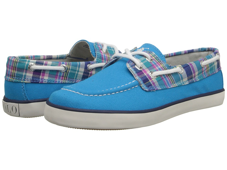 Polo Ralph Lauren Kids - Sander (Little Kid) (Caribbean Blue Canvas/Turquoise Multi Plaid With White Pony Play) Girls Shoes