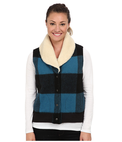 Woolrich - Giant Buffalo Wool Vest (Blue Plaid) Women