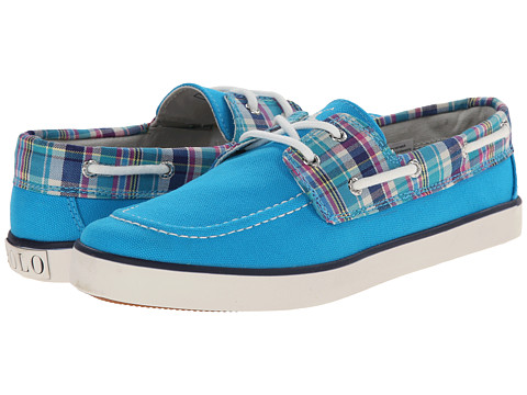 Polo Ralph Lauren Kids - Sander (Big Kid) (Caribbean Blue Canvas/Turquoise Multi Plaid w/ White Pony Player) Girl