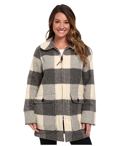Woolrich - Giant Buffalo Coat (Gray Plaid) Women