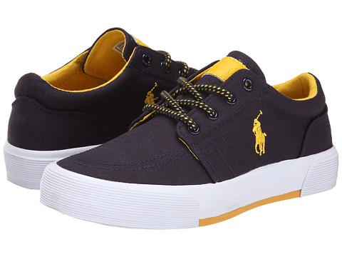 Polo Ralph Lauren Kids - Faxon II (Big Kid) (Navy Ripstop Canvas/Yellow) Boy's Shoes