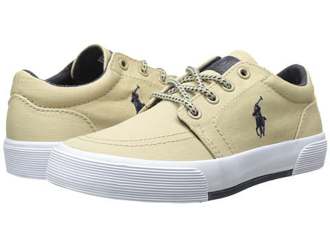 Polo Ralph Lauren Kids - Faxon II (Little Kid) (Khaki Ripstop Canvas/Navy) Boy's Shoes