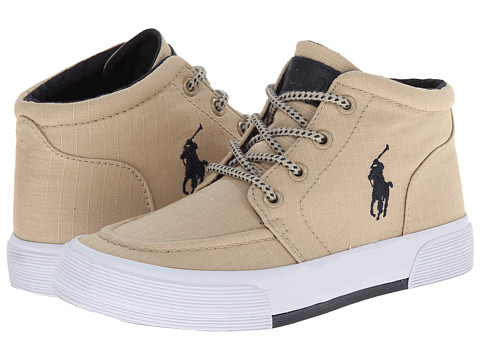 Polo Ralph Lauren Kids - Faxon II Mid (Little Kid) (Khaki Ripstop Canvas/Navy) Boy's Shoes
