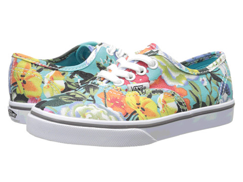 Vans Kids - Authentic Lo Pro (Little Kid/Big Kid) ((Floral) Smoked Pearl/True White) Girls Shoes