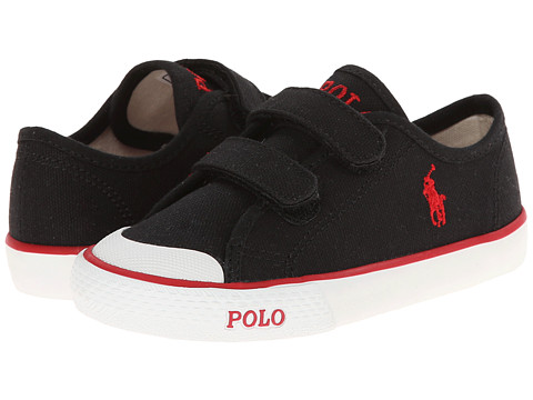 Polo Ralph Lauren Kids - Carlisle EZ (Toddler) (Black Canvas/Red) Kid's Shoes