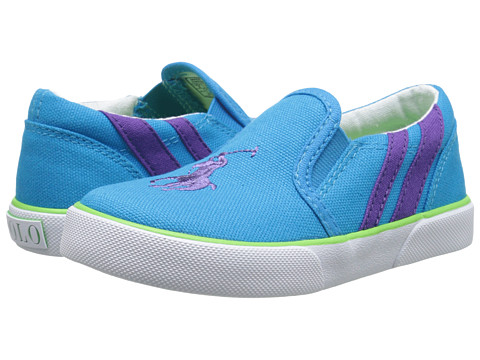 Polo Ralph Lauren Kids - Siera II (Toddler) (Caribbean Blue Canvas/Purple Stripes) Girl