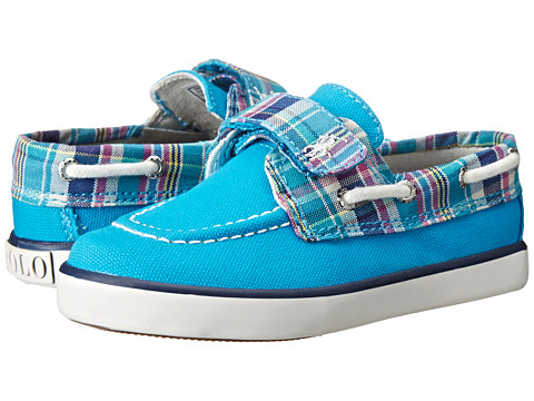 Polo Ralph Lauren Kids - Sander EZ (Toddler) (Caribbean Blue Canvas/Turquoise Multi Plaid w/ White Pony Player) Girls Shoes
