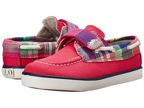Polo Ralph Lauren Kids - Sander EZ (Toddler) (Ultra Pink Canvas/Pink Multi Plaid w/ White Pony Player) Girls Shoes