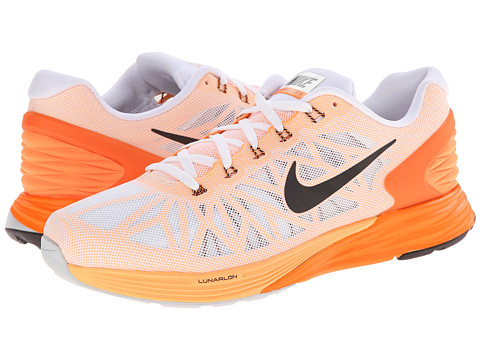 Nike - LunarGlide 6 (White/Total Orange/Peach Cream/Black) Men