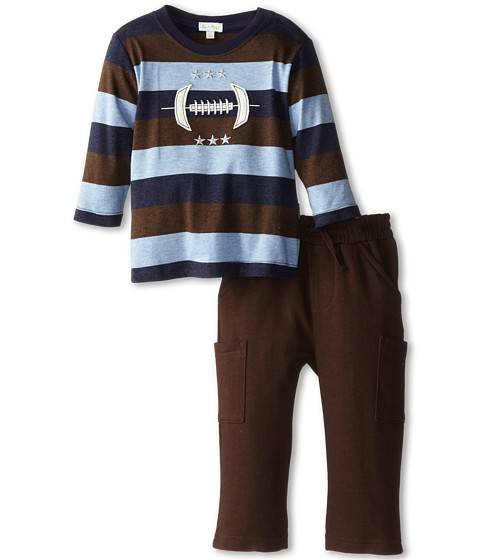 le top - Rookie of the Year Wide Stripe Shirt Football Espresso French Terry Pant (Infant/Toddler) (Blue) Boy's Active Sets