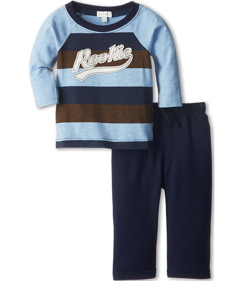 le top - Rookie of the Year Stripe Shirt French Terry Pant Rookie (Newborn/Infant) (Yale Blue) Boy's Active Sets