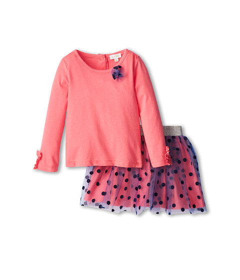 le top - Simply Charming Shirt Dotted Tulle Skirt Tulle Flower (Toddler/Little Kids) (Coral Pink) Girl