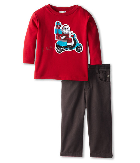 le top - Merry Bright Shirt Riding Santa Twill Pant (Infant/Toddler) (Red) Boy's Active Sets