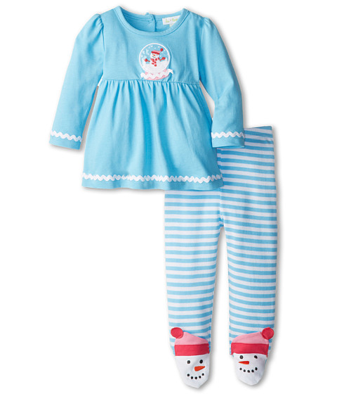 le top - Play in the Snow Swing Top and Footed Stripe Pants - Snowgirl Snowglobe Snowgirl Toes (Newborn) (Glacier Blue) Girl's Active Sets