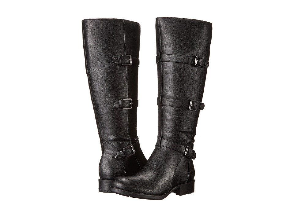 Franco Sarto - Petite Wide Shaft (Black Leather) Women's Wide Shaft Boots