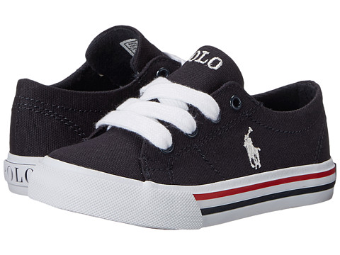 Polo Ralph Lauren Kids - Scholar (Toddler) (Navy Canvas/White Pony Player w/ Red Navy Stripe) Kid