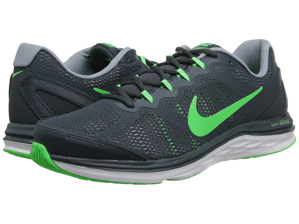 Nike - Dual Fusion Run 3 (Classic Charcoal/Dove Grey/White/Poison Green) Men's Running Shoes