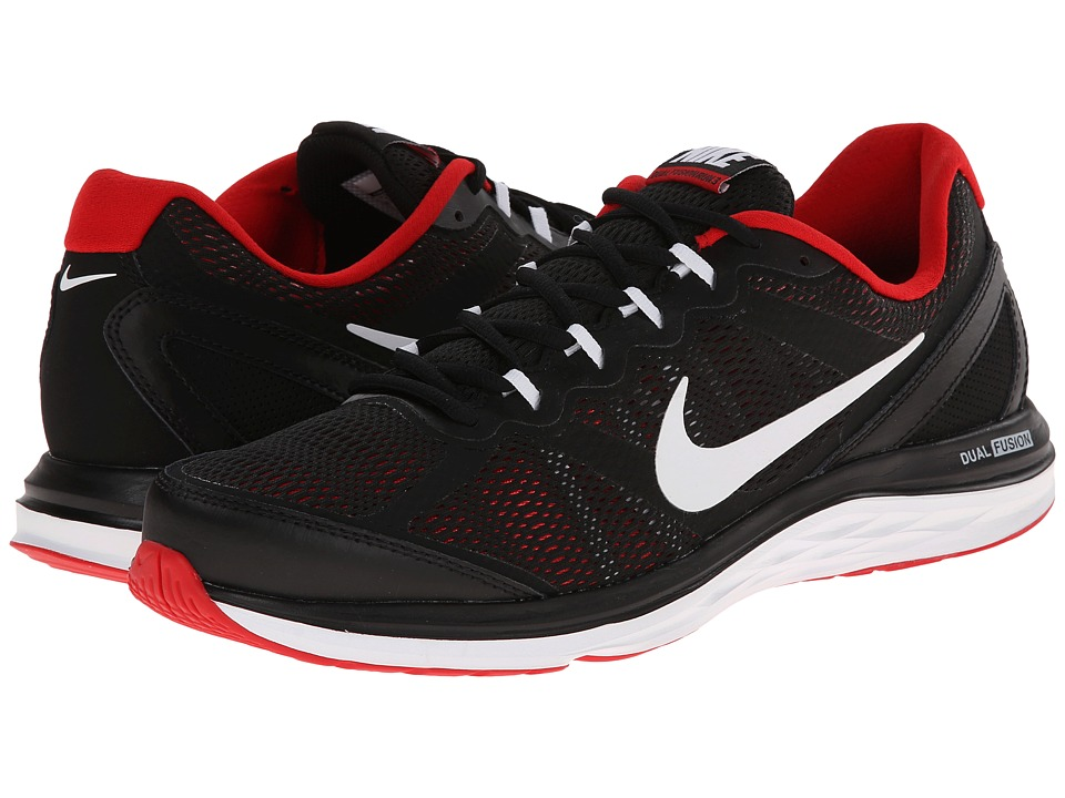 Nike - Dual Fusion Run 3 (Black/University Red/White) Men