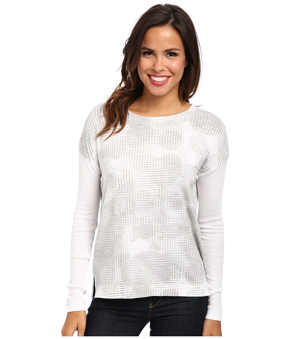 Calvin Klein Jeans - Rib Sleeve Boxy L/S Shirt (White) Women's Long Sleeve Pullover