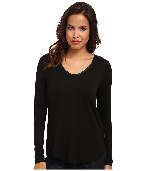 Calvin Klein Jeans - PU Trim L/S Shirt (Black) Women
