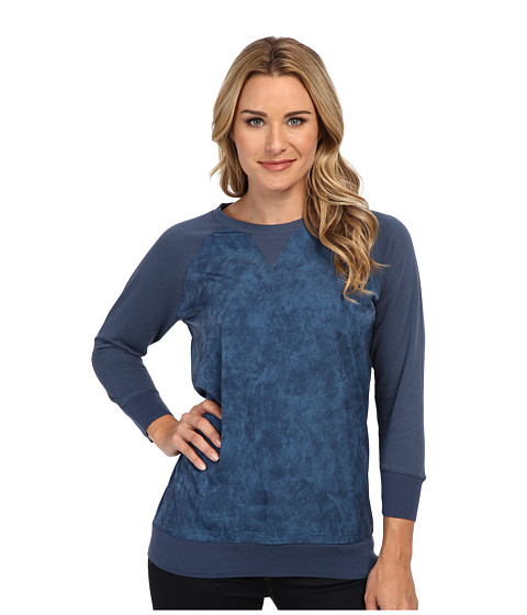 Calvin Klein Jeans - Printed Woven Front Sweat Top (Dark Denim) Women's Long Sleeve Pullover